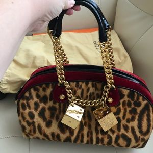 "Christian Dior Leopard/Dice ""Gambler"" Boston bag"